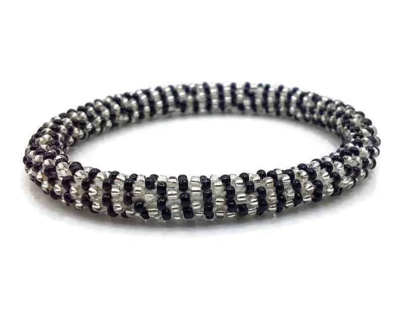 Handmade in Nepal, Glass Bead Roll On Bracelet, Crocheted Bangle ...