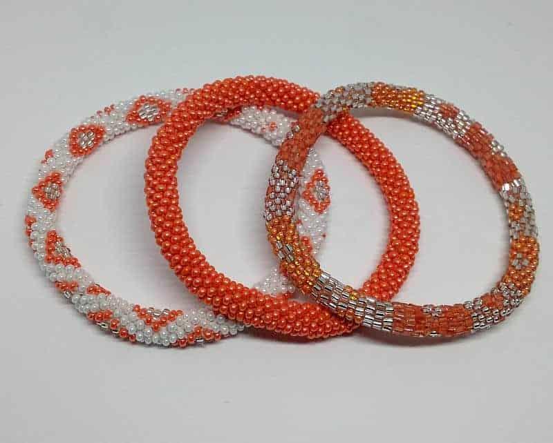 Lifted Hope Nepal Glass Bead Bracelets 3 Pcs Orange Colors Mix