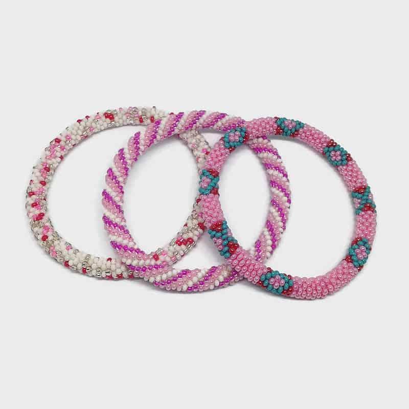Lifted Hope Nepal Glass Bead Bracelets 3 Pcs Pink Lovers Mix Boho