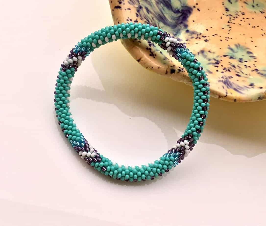 Lifted Hope Nepal Glass Bead Roll On Bracelet Handmade By Ramila