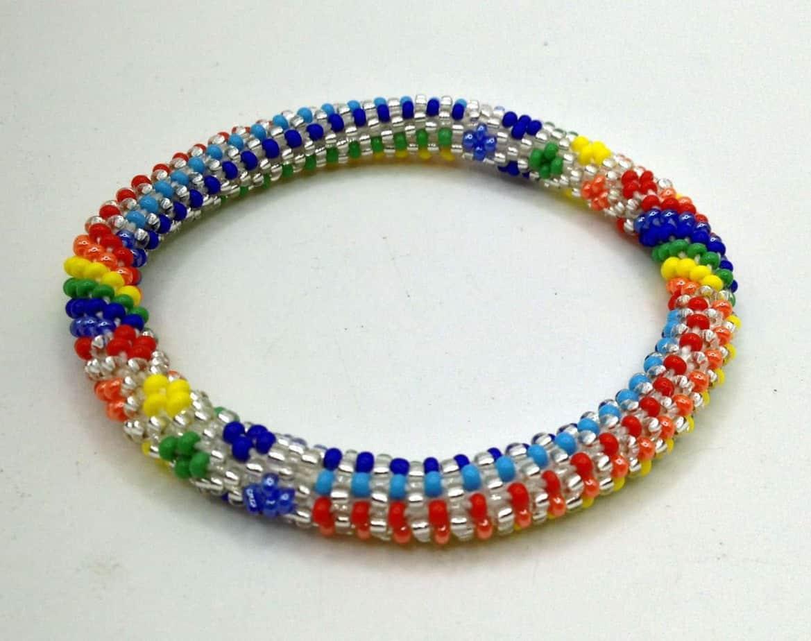 Multi Colored Rainbow Beads Crocheted Nepal Bracelets Made With Toho