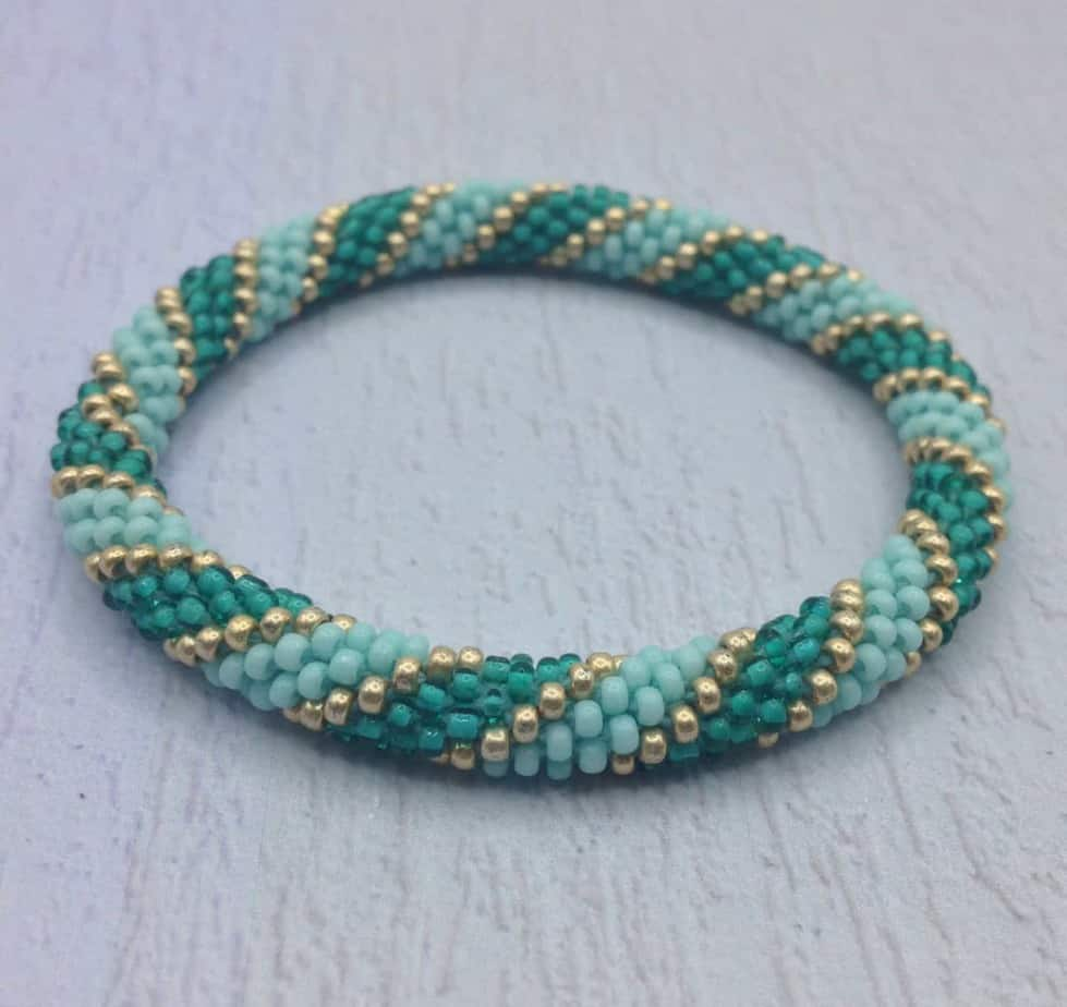 Nepal Roll On Bangle Bracelet Beaded