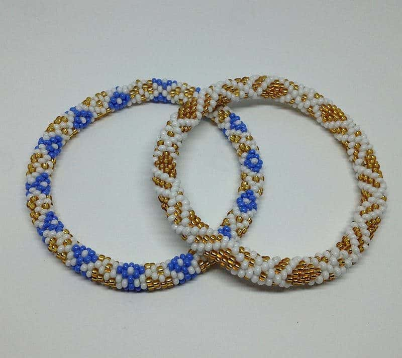 Nepal Roll On Hand Beaded Gl Seed Bead Bracelets Handmade By Ramila Beads 2 Pcs Gold And Blue Diamond Pattern Liftedhope