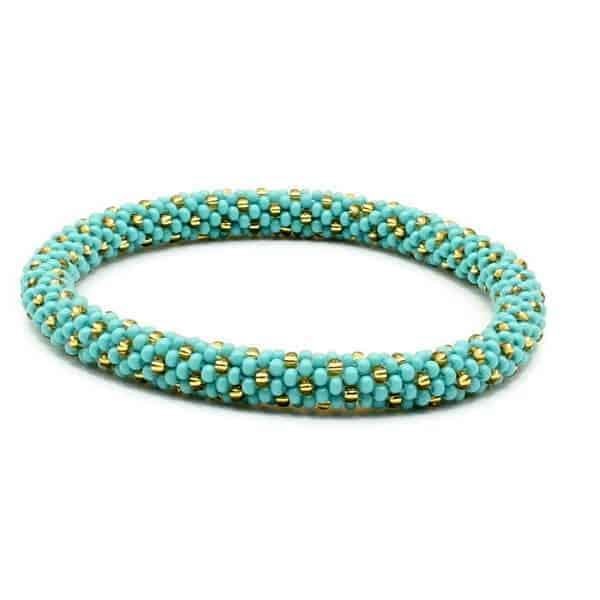 Teal With Gold Dots Lifted Hope Nepal Glass Bead Bracelets Handmade