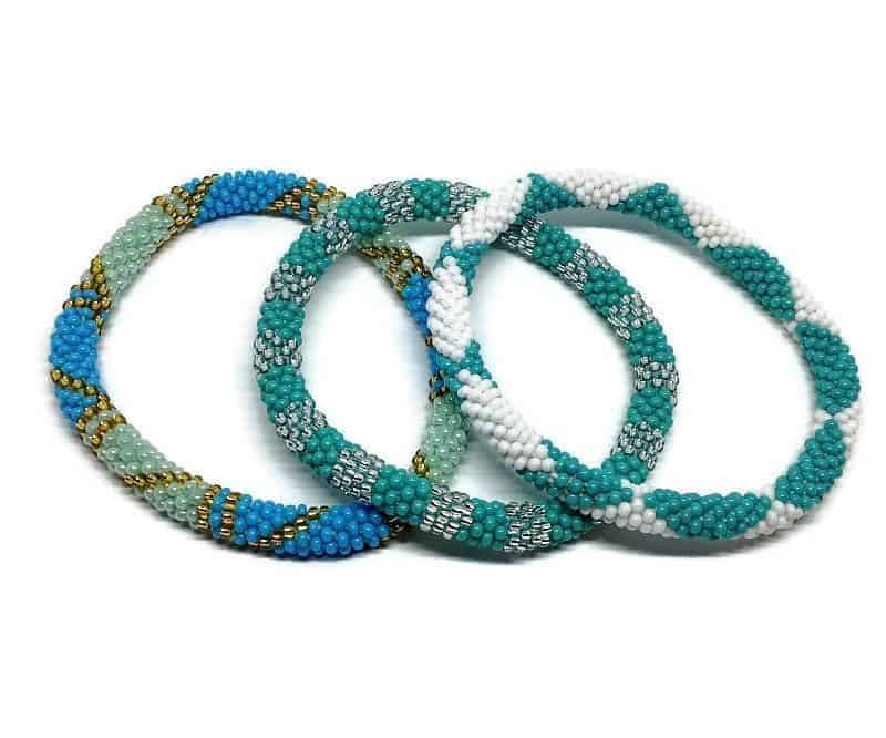 Lifted Hope Nepal Glass Bead Bracelets 3 Pcs Blue Lovers Mix Boho