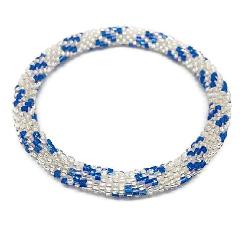 Nepal Glass Bead Stackable Roll On Bracelet Silver Blue Seed Beads