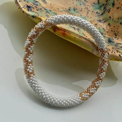 Beaded Bracelet Handmade By Ramila Beads White And Gold Nepal Bracelets