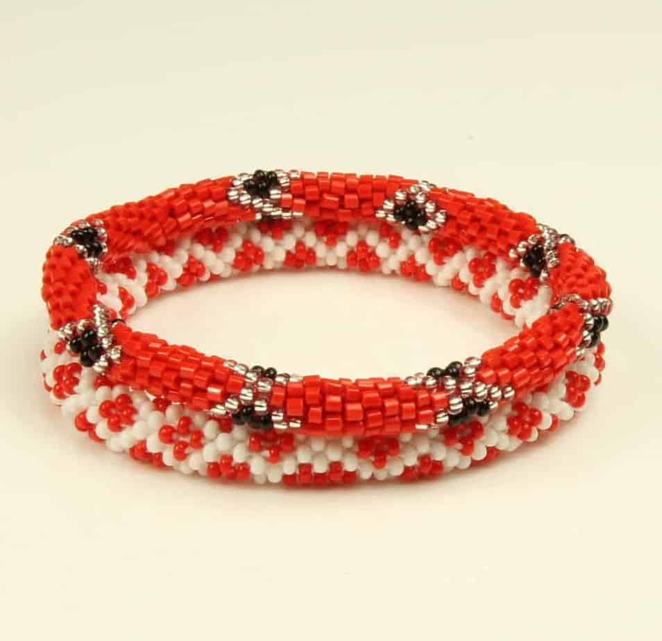 Nepalese Roll On Hand Beaded Gl Seed Bead Bracelets Handmade By Ramila Beads 2 Pcs Red And White With Black Silver Accents