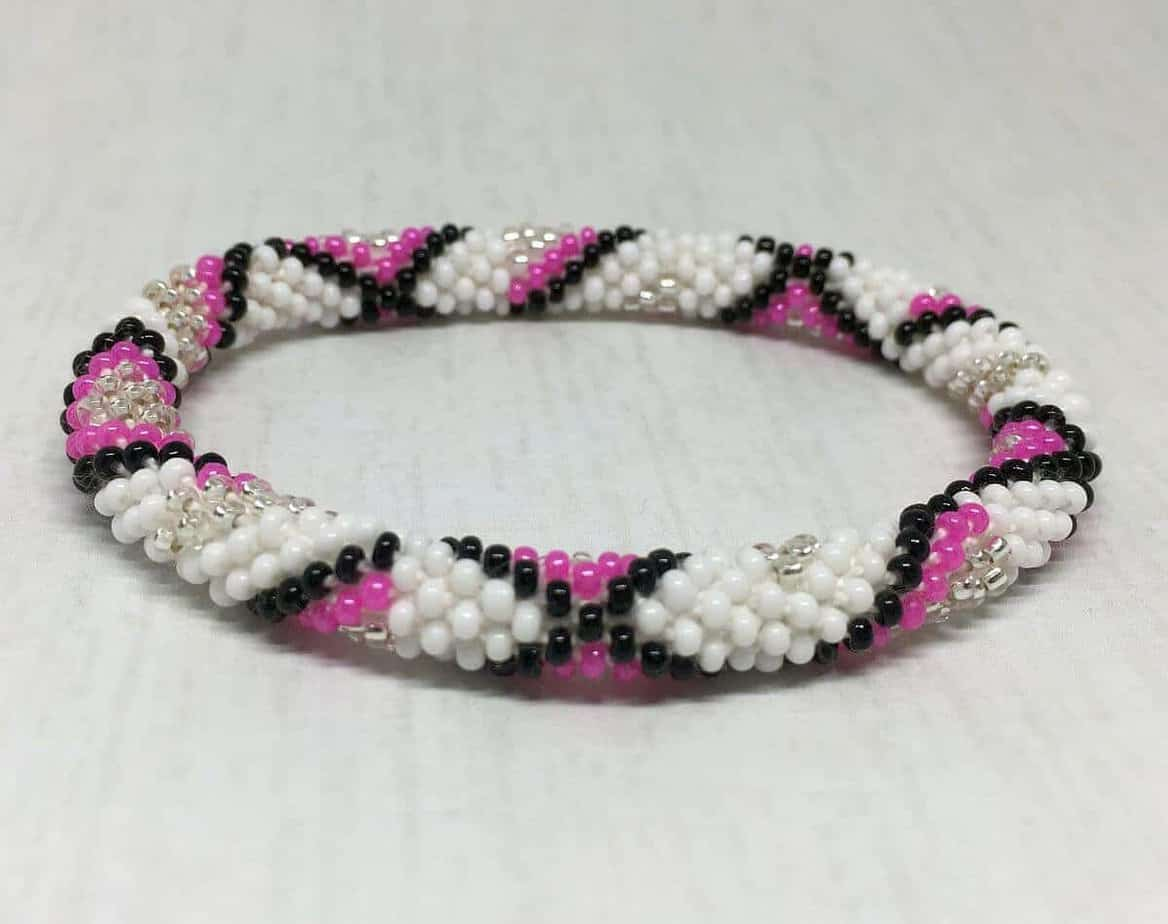 Pink Themed Handmade Roll On Gl Seed Bead Bracelet For S Liftedhope Nepal