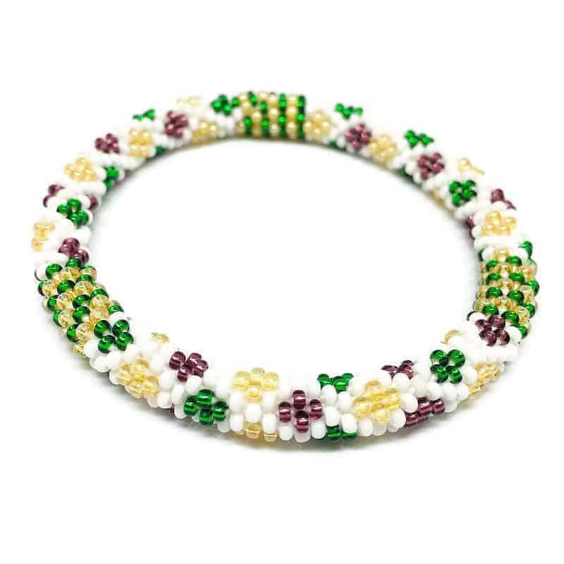 Purple And Green Theme Lifted Hope Nepal Glass Bead Bracelets