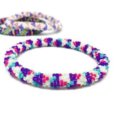 Purple Handmade Roll On Gl Seed Bead Bracelet Liftedhope Nepal Bracelets