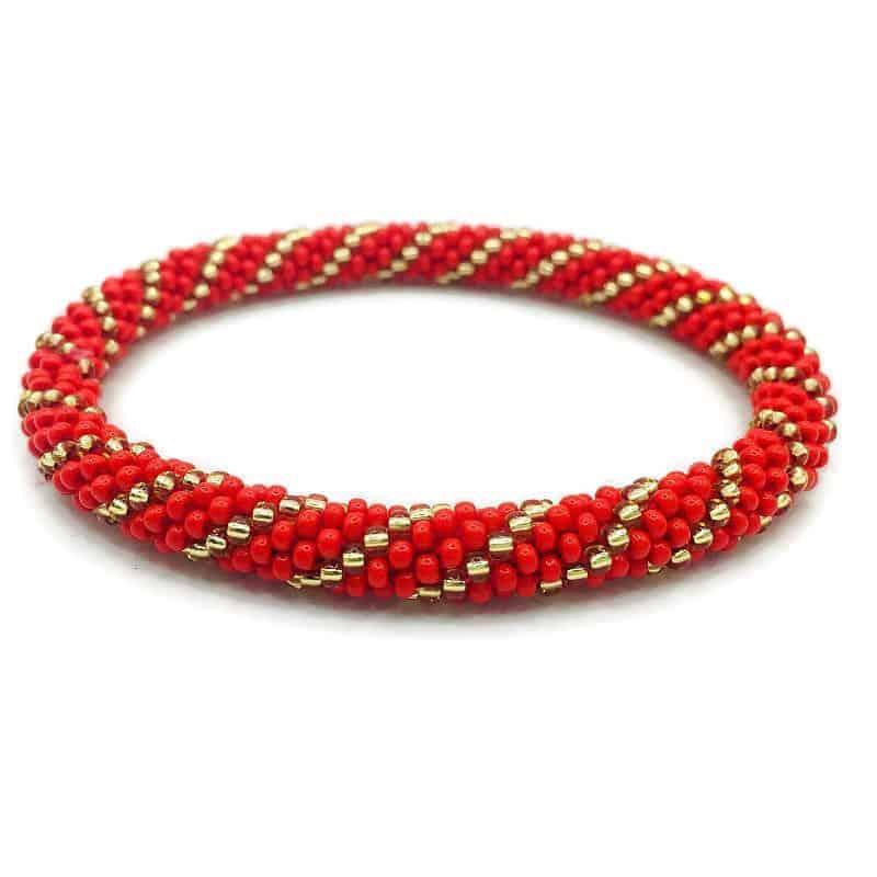 Red And Gold Nepal Glass Bead Bracelets Handmade By Ramila Beads